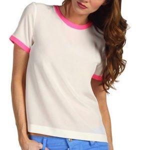 Kate Spade Myrna cream/hot pink silk blouse
